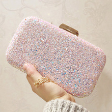 Glitter Sparkling Sequined Women Clutch Evening Party Bag Female Shoulder with Chain Straps Yellow Banquet Hand