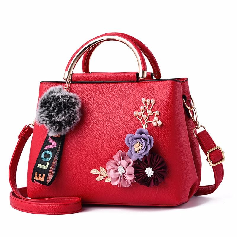 Women Bag Leather Handbag Women Shoulder Bag Tote Flowers Shell Sac A Main Femme Rivets Fur Ball Pendant Luxury Designer Ladies