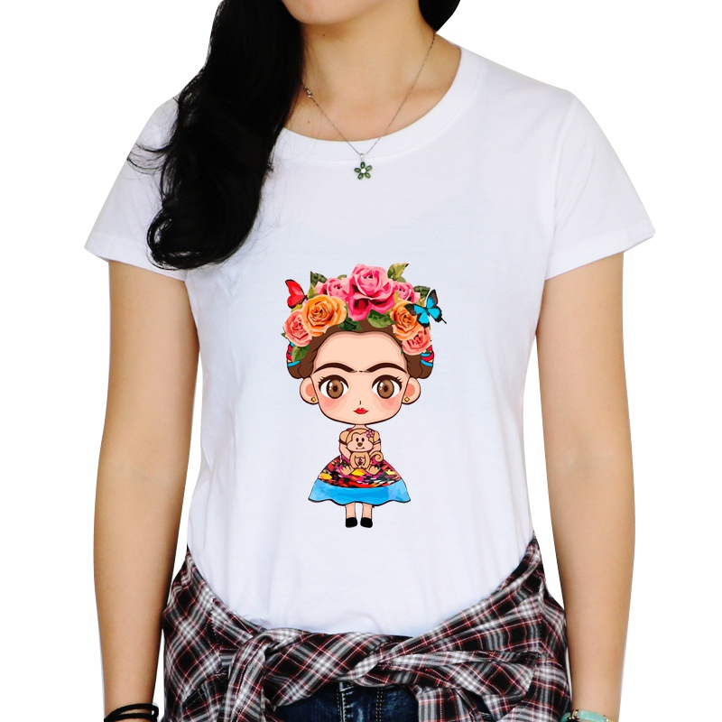 Sweet Girls Cartoon Printed Short T-Shirts Round Neck Two Kinds Pattern Summer Short Tees Brand Chic Tops Hot 2018