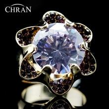 Chran New Brand Cubic Zirconia Flower Wedding Rings for Women Charm Gold Color Birthday Stone Crystal Jewelry Rings недорого