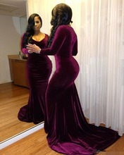 Elegant Purple Velvet Mermaid Arabic Evening Dresses Crew Long Sleeves Sexy dress 2019 Luxurious Prom