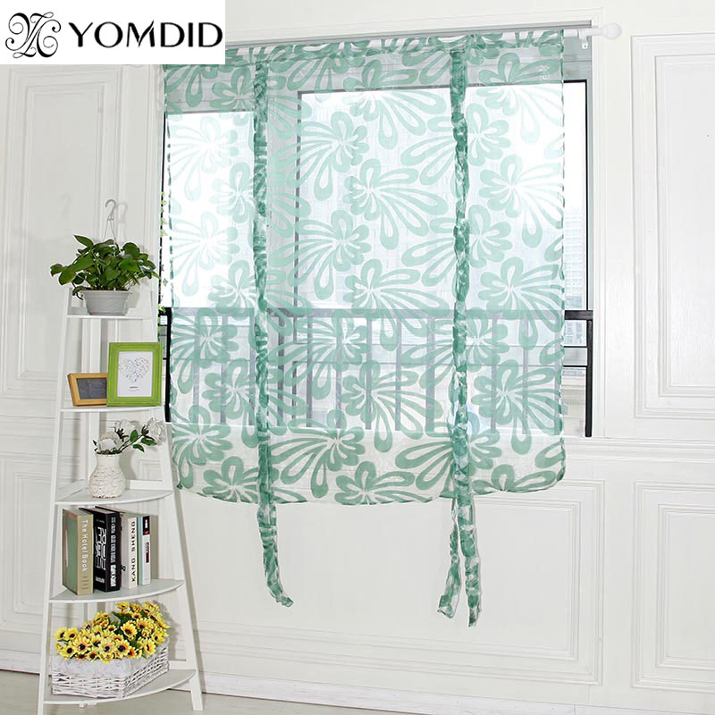 Curtains Kitchen Short Curtains Roman Blinds Floral White Sheer Panel Green Tulle Window Treatment Door Curtain Home Hotel Cafe Decor 1pc Great Varieties