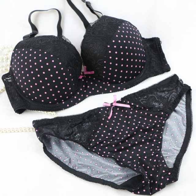 Japanese Women's Fashion Bra Set Push Up 2016 New Vs Underwear Plus Size 85-95 C D Cup Blue Lingerie Sexy Bow Bra Panty Set