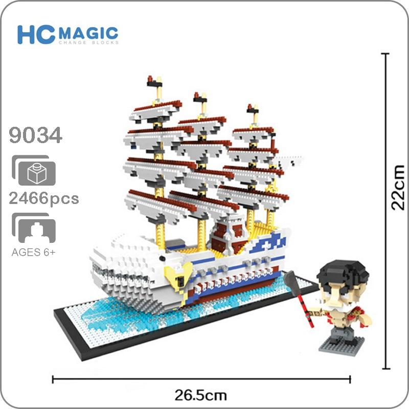 HC 9034 Anime One Piece White Beard Pirate Ship Boat 3D Model DIY Diamond Mini Building Nano Blocks Bricks Assembly Toy no Box