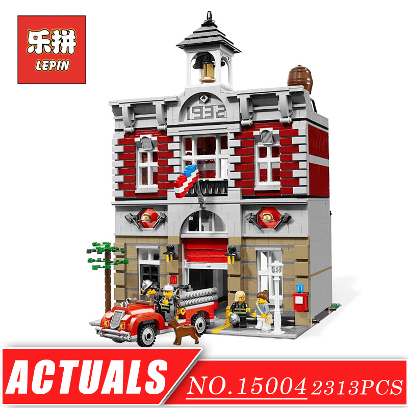 LEPIN 15004 Street View Series Doll House City Street Fire Brigade Set DIY Model Building Kits Blocks Bricks Children Toys Gift lepin 01018 girl series enchanted castle princess diy set doll house model building kits blocks bricks children toys christmas