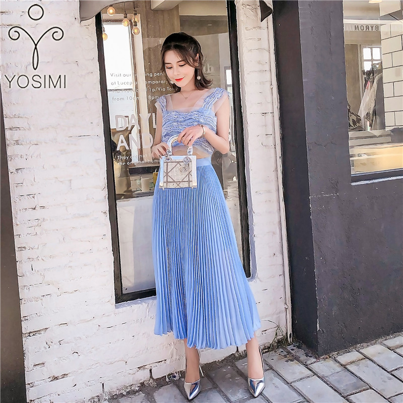 YOSIMI 2019 Summer Chiffon Lace Vintage Two-piece Suit Set Long Dress Women Blue Sleeveless Short Top +Half Long Pleated Skirt