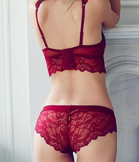 a4b4abc2e35 2017 Women's Sexy Bra Set Ultra thin Red Lace Bra Brief Sets Plus Brassiere  Push up Bra and Panties Female Underwear Set Winter-in Bra & Brief Sets  from ...