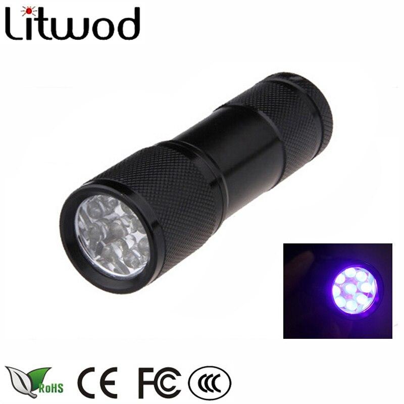 Litwod Z30 Mini Aluminum Portable UV Flashlight Violet Light 9 LED UV Torch Light Lamp Mini Flashlight