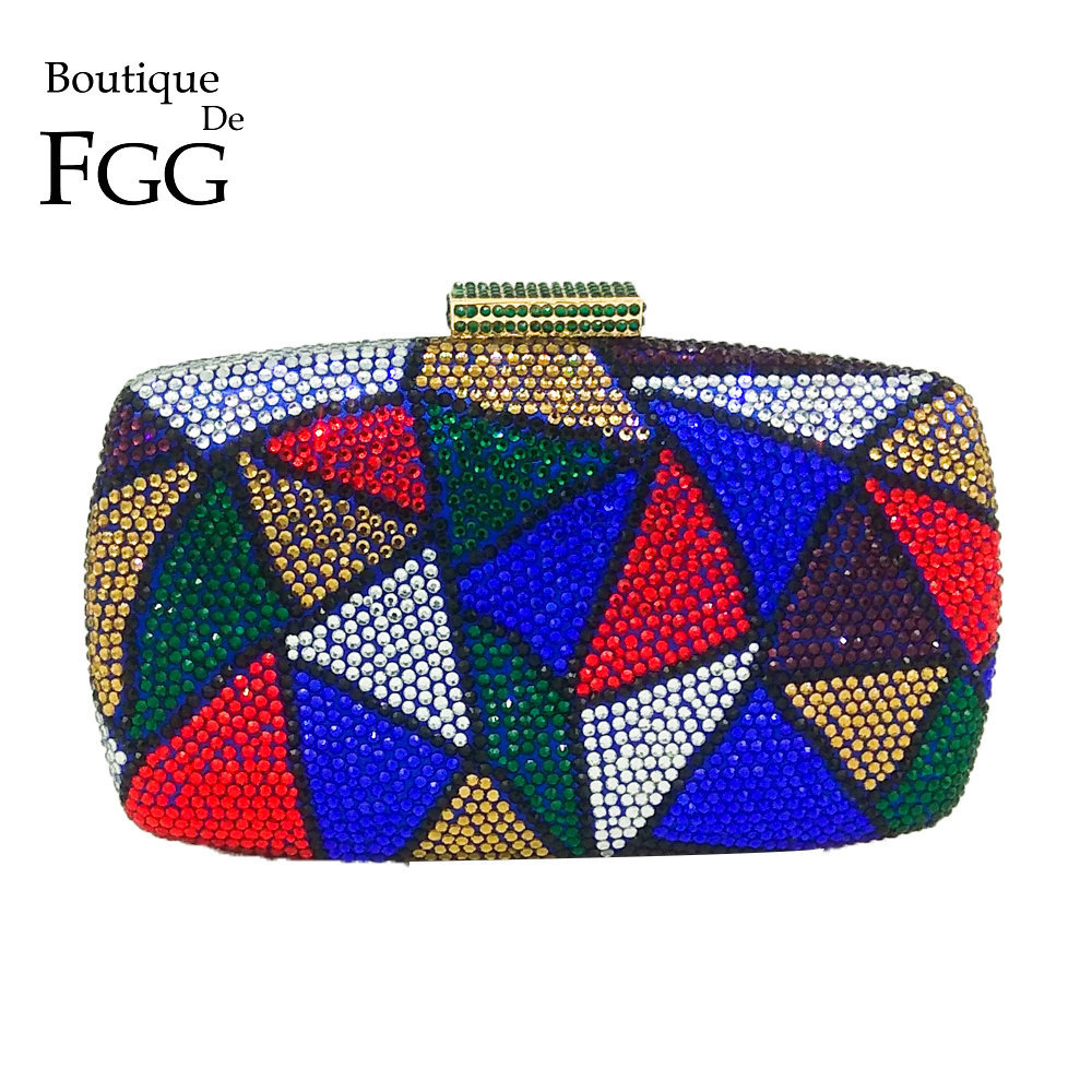 Boutique De FGG Multicolored Plaid Women DIamond Evening Bags Formal Dinner Purses And Handbags Ladies Party Crystal Clutch Bag