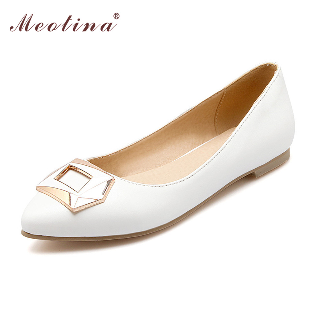 Meotina Shoes Women Ladies Flat Shoes Loafers Boat Shoes Women Pointed Toe Dance Ballerina Flats White Size 34-39 Sale Promotion meotina brand design mules shoes 2017 women flats spring summer pointed toe kid suede flat shoes ladies slides black size 34 39