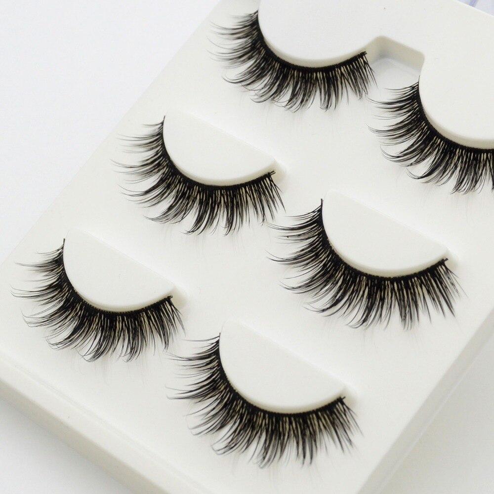 a84050d5ad0 3 pairs /set 3D False Eyelashes Messy Cross Thick Natural Fake Eye Lashes  Professional Makeup Tips Bigeye Long False Eye Lashes