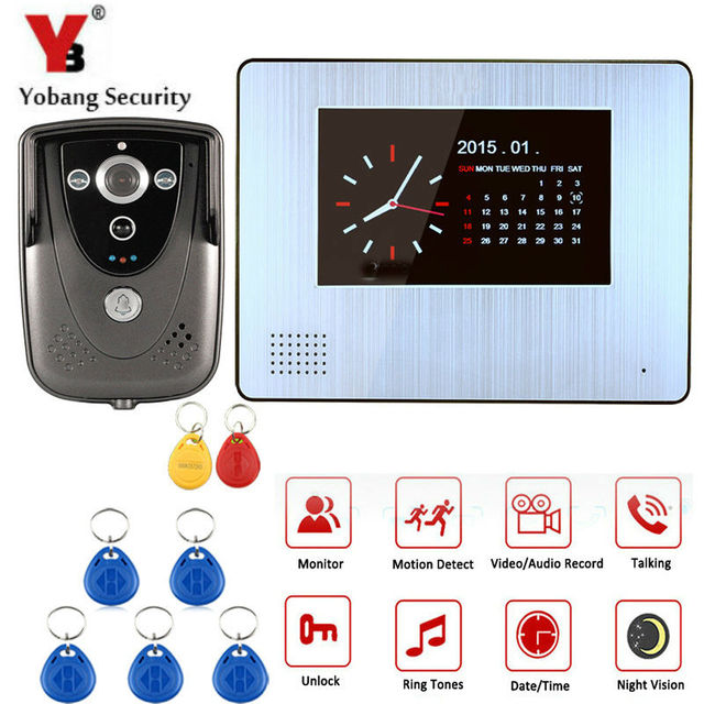 "Yobang Security 7""Audio Record Video Door Phone Kits PIR Record Intercom System RFID Access Doorphone Clock Visual doorbell"