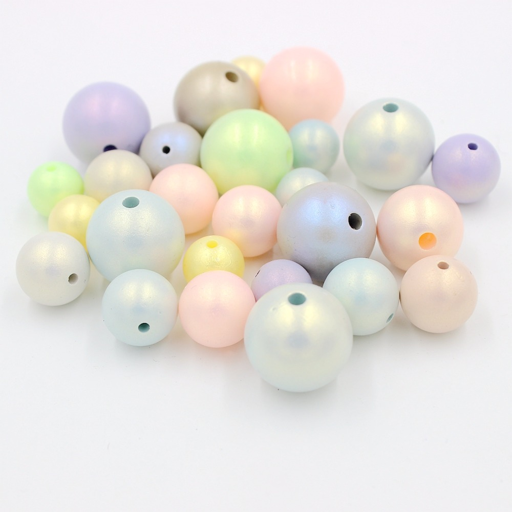 New Pick 6,8,10,12 Round Multi Imitation Pearls Beads Frosted Beads Crafts Decoration For DIY Bracelets Necklaces Jewelry Making(China)