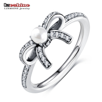 LZESHINE 925 Sterling Silver Delicate Finger Rings Lovely Bow With White Pearl Ball AAA Zirocnia Engagement