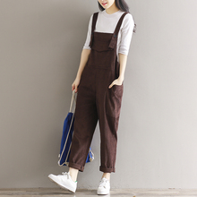 Spring summer small fresh bib pants preppy style loose plus size large pocket corduroy trousers