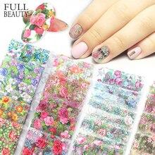 10 stücke Blume Nail art Folien Transfer Slider Mixed Designs Rose DIY Aufkleber Decals Folie UV Gel Kleber Wraps Zubehör CH798