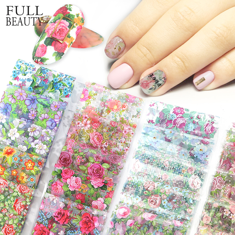 10pcs Flower Nail Art Foils Transfer Slider Mixed Designs Rose DIY  Stickers Decals Foil UV Gel Adhesive Wraps Accessories CH798