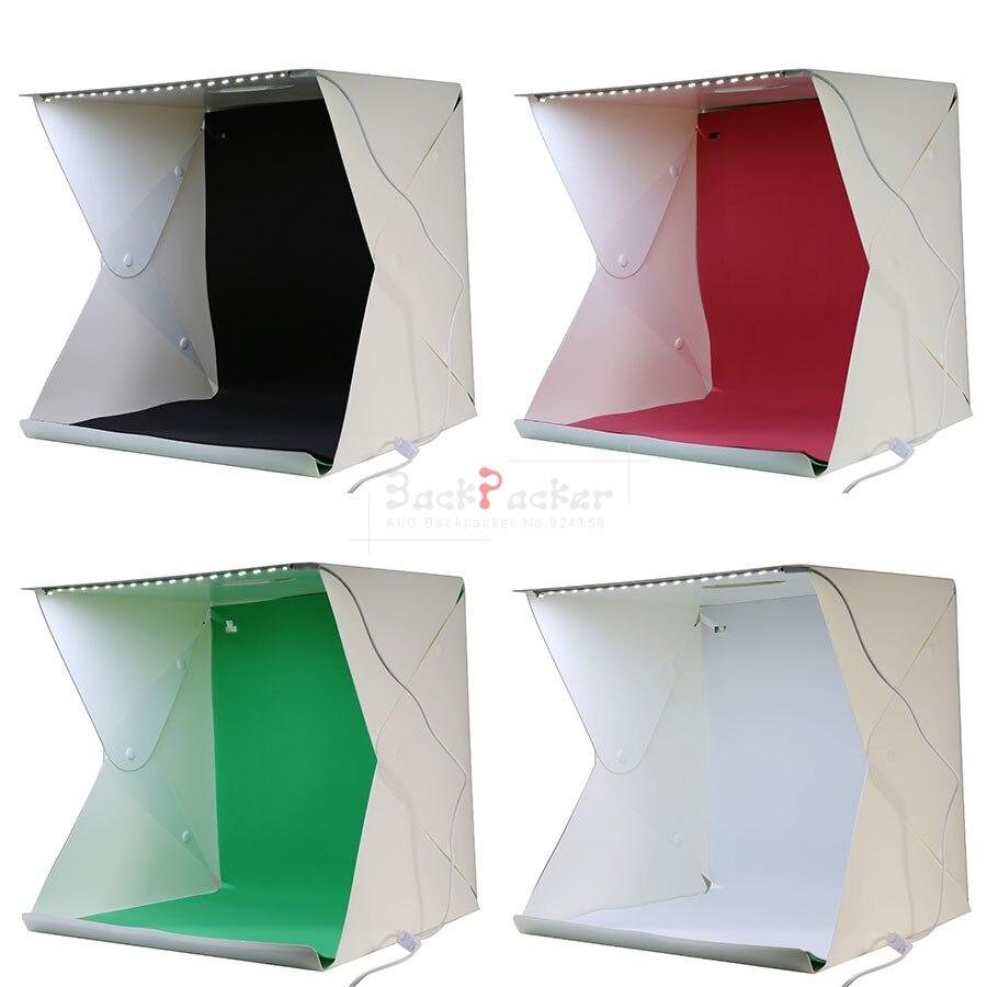 2017 NEW Mini Folding Studio Diffuse Soft Box With LED Light Black White Green red Background Photo Studio Accessories