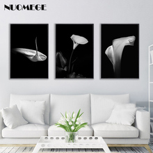 NUOMEGE Modern Black White Calla Flower Poster and Print Nordic Minimalism Canvas Art Painting Wall Picture Decorative