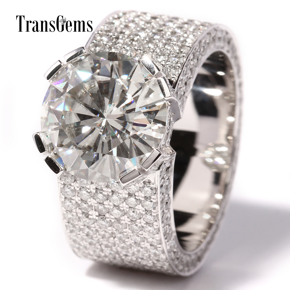 Transgems 5 Ct Lab Grown Moissanite Diamond Wedding Ring With Real Diamond  Accents Band 14k White Gold For Men Women Dcc015