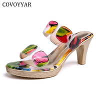 2017 Mixed Color Women S Sandals Summer Fashion Open Toe High Heels Slippers Thin Heel Woman