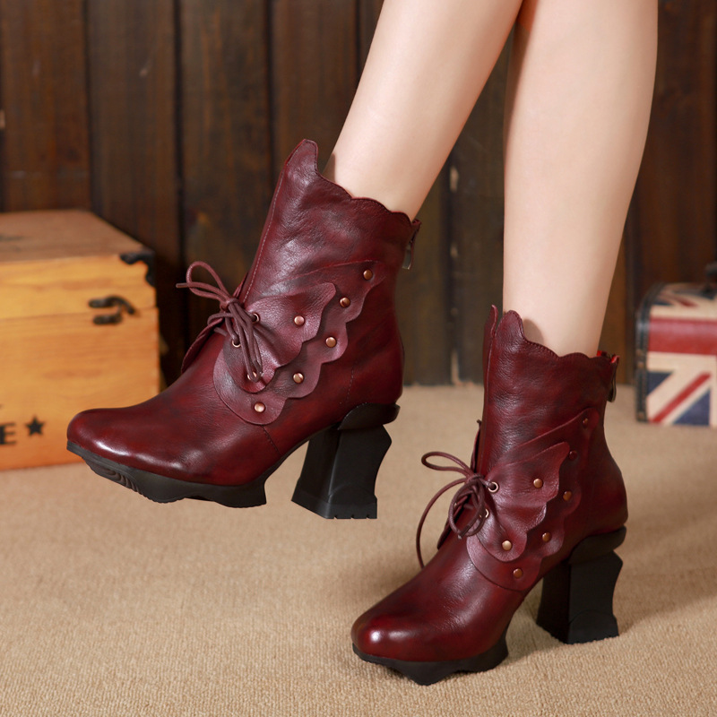 2017 National Style Women Shoes Autumn and Winter New Handmade Genuine Leather Retro High-Heeled Ankle Boots b8062-139 autumn and winter new personality retro cowhide ankle boots handsome female waterproof platform genuine leather women shoes 9731
