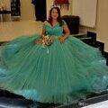 2017 verde vestidos quinceanera com cristal sash cap sleeve tulle sweet 15 Vestido Para 16 Anos Vestidos de Baile vestido de Baile Vestido Pageant