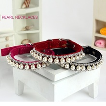 Luxury Pearl Dog Collar Lead for Puppy Cat Handmade Rhinestone Harness Dog Necklacefor Pet Accessories