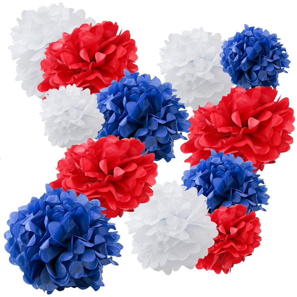Us 13 99 Set Of 18 Mixed Royal Blue Red White Tissue Paper Pom Poms Flower Ball Wedding Birthday Party July 4th Holiday Decoration In Artificial