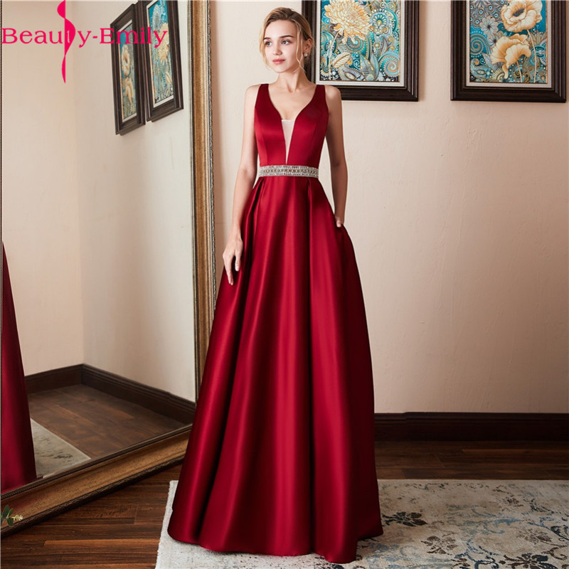 Beauty Emily 2019 Sexy V Neck Sequined Long   Evening     Dresses   Fashion Backless Navy Blue Stain Formal   Dress   Robe De Soiree