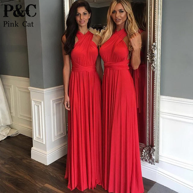 2017 Summer Y Women Maxi Dress Red Convertible Long Multiway Bridesmaids Robe Longue