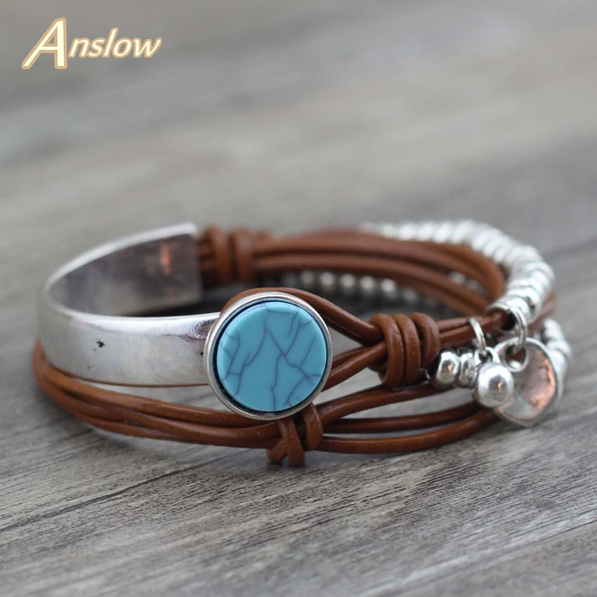 Anslow New Design Fashion Jewelry Summer Style Resin Unique Silver Beads Leather Bracelet For Women Valentine's Day LOW0501LB