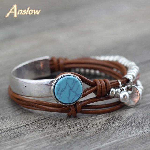 Anslow New Design Fashion Jewelry Summer Style Resin Unique Silver Beads Leather