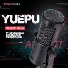 YUEPU RU-C6 Studio Condenser Microphone Professional Large Diaphragm High Sensitivity No 48V Require Computer Video Recording