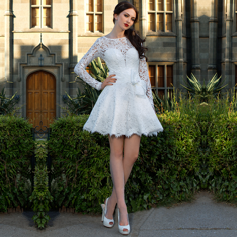 Best Short White Lace Wedding Dresses Keyhole Back Mini Long