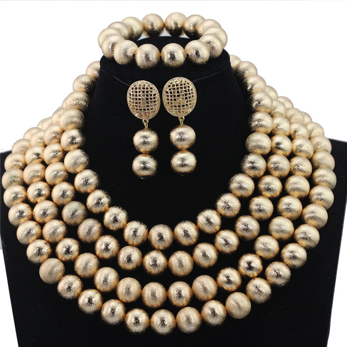 2016 Latest African Wedding Jewelry Set Handmade Crystal Beads Bridal Necklace Jewelry Sets 4 Layers Free