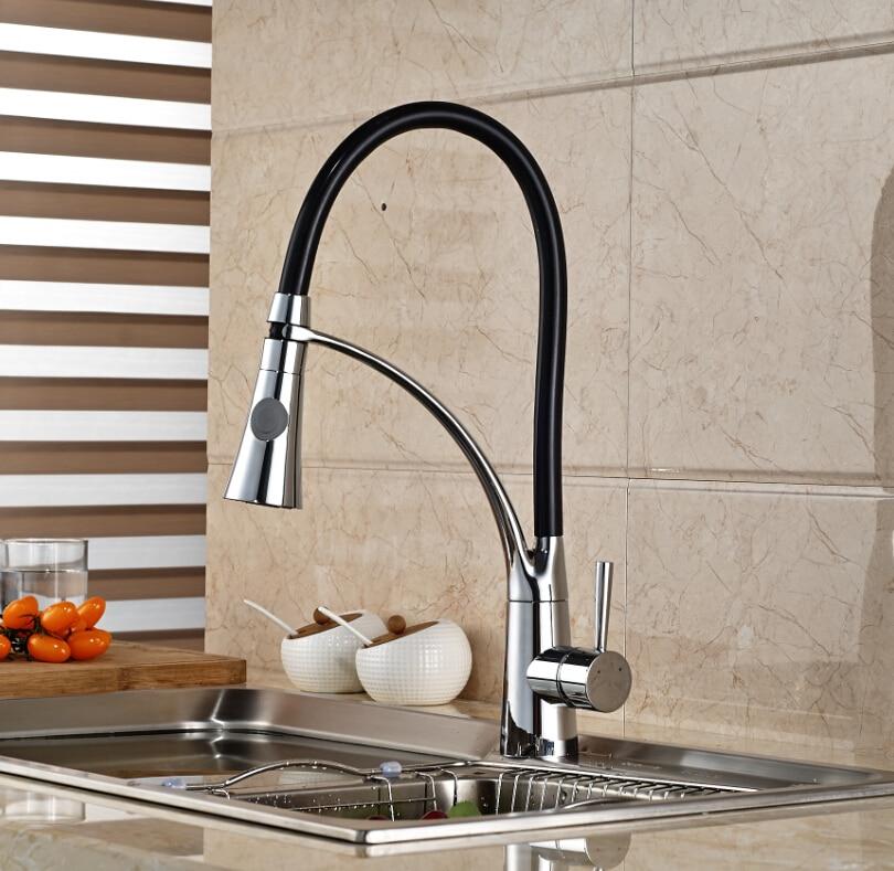 Chrome Brass Kitchen Faucet Dual Sprayer Swivel Spout Deck Mounted Sink Mixer Tap golden brass kitchen faucet dual handles vessel sink mixer tap swivel spout w pure water tap