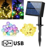 Smuxi IP65 Wasserdichte 6,5 Mt Außen Solar Power 30 LED Kristall Ball Solar String Licht Hochzeit Weihnachtsfeier Lampe Hof Decor