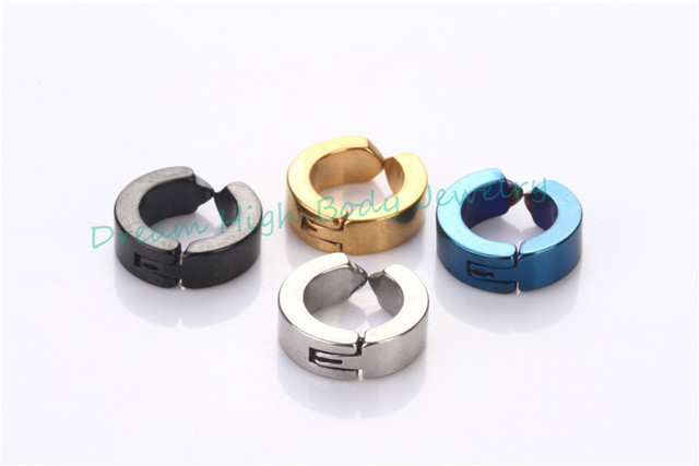 Faves Simple Fake Ear Pierce Stainless Steel Hoop Huggie Punk Stud Earring Black 4mm Wide Clip