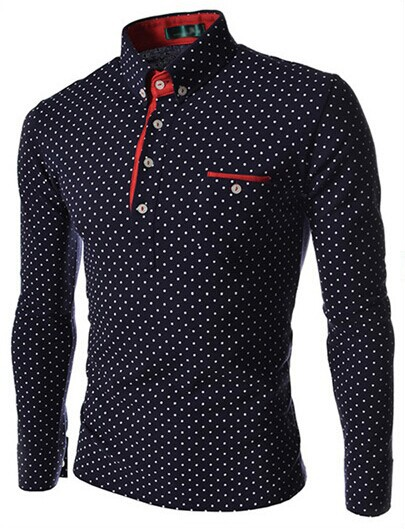 Hot sale 2015 new men solid polo shirt quality brand polka dot slim fit long sleeve