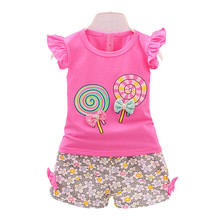 2018 Summer Female baby girls Shorts sets infant fly sleeve vest 2pcs suit lollipop clothing(China)
