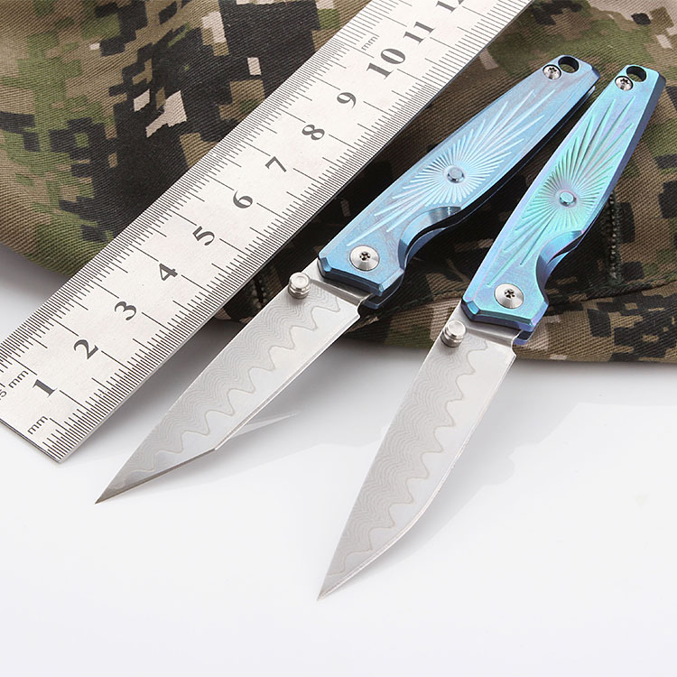 CH Mini Folding Knife With titanium Handle Pocket Knife With VG-10 Blade free shipping Tactics Survival Hunting knife Men Gift ctsmart f47 folding knife with liner lock