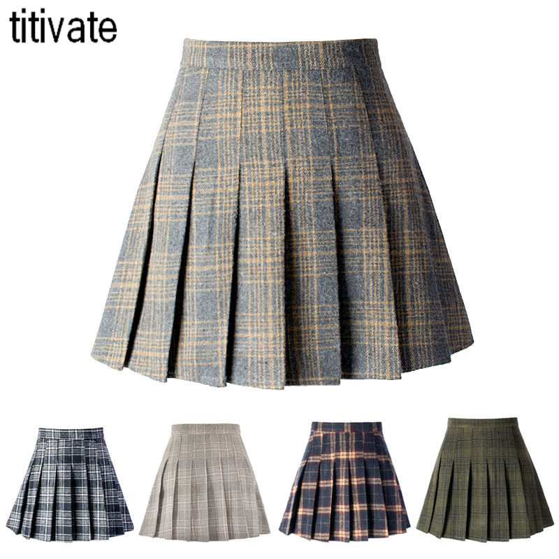 TITIVATE Summer High Waist Elegant A word Skirt New Fashion Female Skirt Anti-light Pleated Skirt College Style Student Skirt