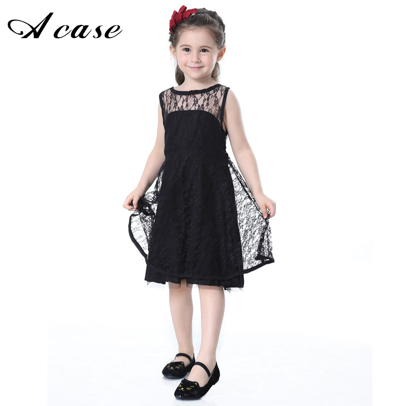 Lace Girl Dresses 2018 New Summer Children Princess Evening Sleeveless Kids Black White Hollow Backless Dress for Elegant Girls ruched v neck surplice dress