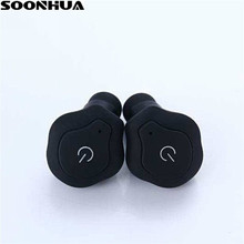 SOONHUA Mini TWS Gêmeos Bluetooth Fone de Ouvido Handsfree com Mic Graves Esportes fone de Ouvido Sem Fio No Ouvido Fones de Ouvido Estéreo para o Telefone Móvel