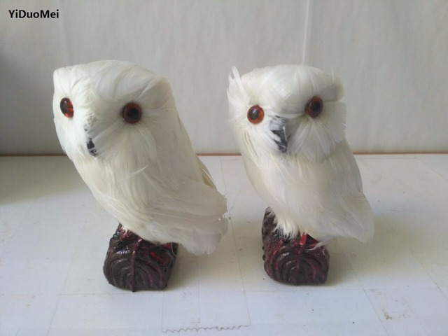 About 12x7cm Artificial White Owls One Lot 2 Pcs Model Polyethylene Furs Night Owl