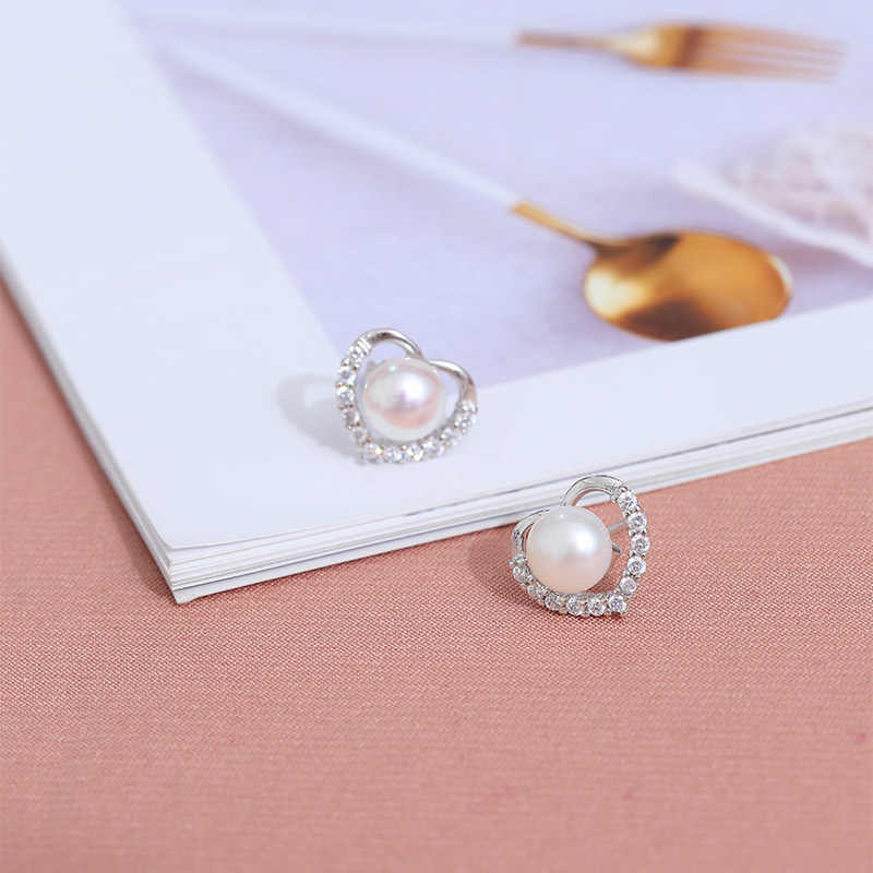 DAIMI 925 Silver Sets Jewelry Box Package Freshwater Pearl Earrings Cherry Blossom Jewelry