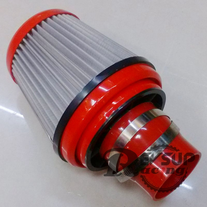 Performence Car Air Cleaner : Abs universal racing performance red high flow auto filter