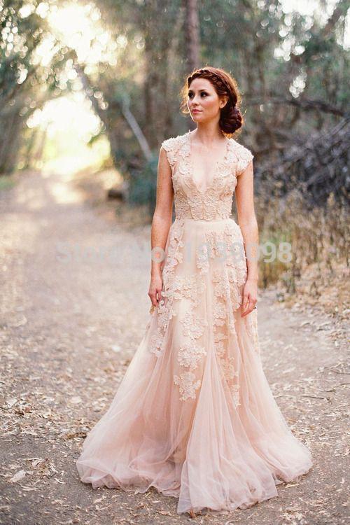 Deep V Cap Sleeves Pink Lace Applique Tulle Sheer Wedding Dresses 2014 Cheap Vintage A Line Reem Acra Latest Blush Wedding Bridal Dress Gown.jpg