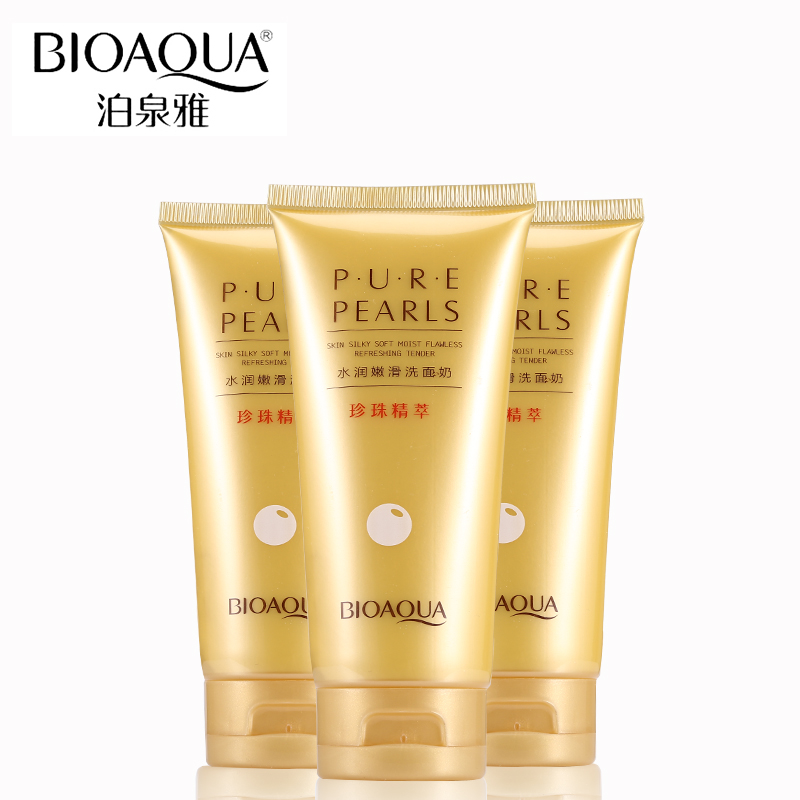 BIOAQUA Brand Pure Pearls Extract Essence Facial Cleanser Skin Care Cleaning Rich Foaming Face Cleaner Whitening Moisturizing